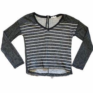 Aeropostale Distressed Stripped Crop Top Sweater